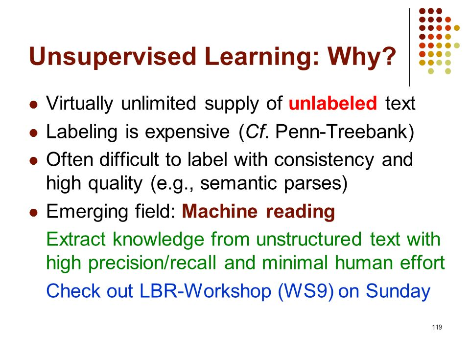Unsupervised Learning: Why