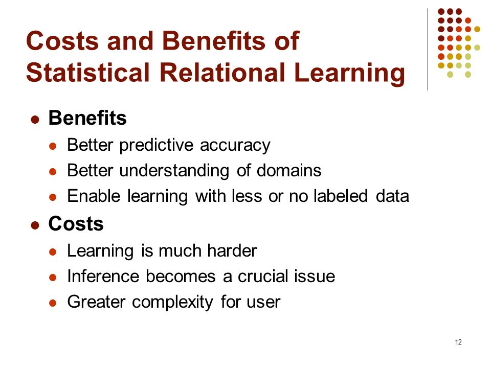 Costs and Benefits of Statistical Relational Learning
