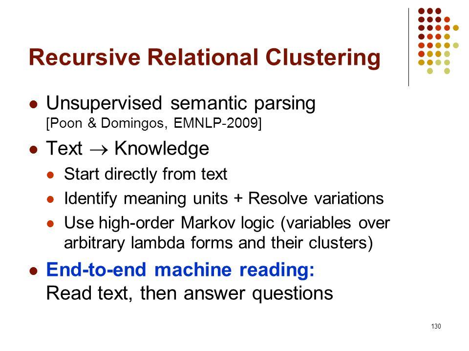 Recursive Relational Clustering