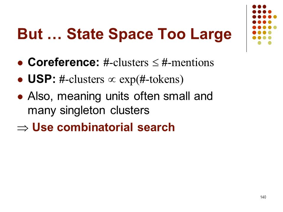 But … State Space Too Large