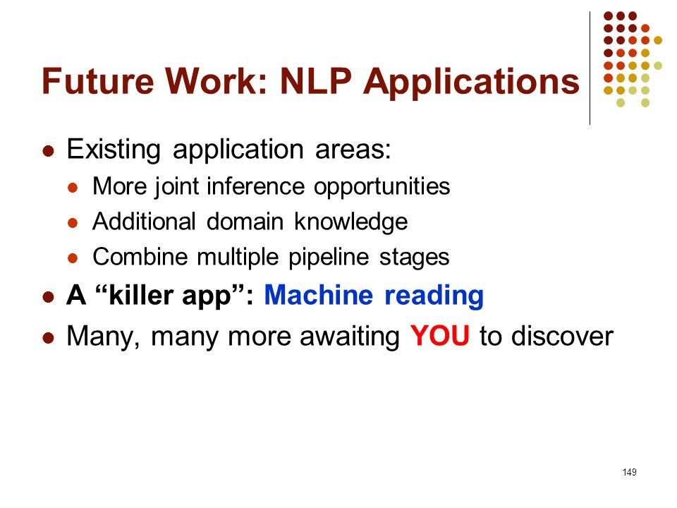 Future Work: NLP Applications