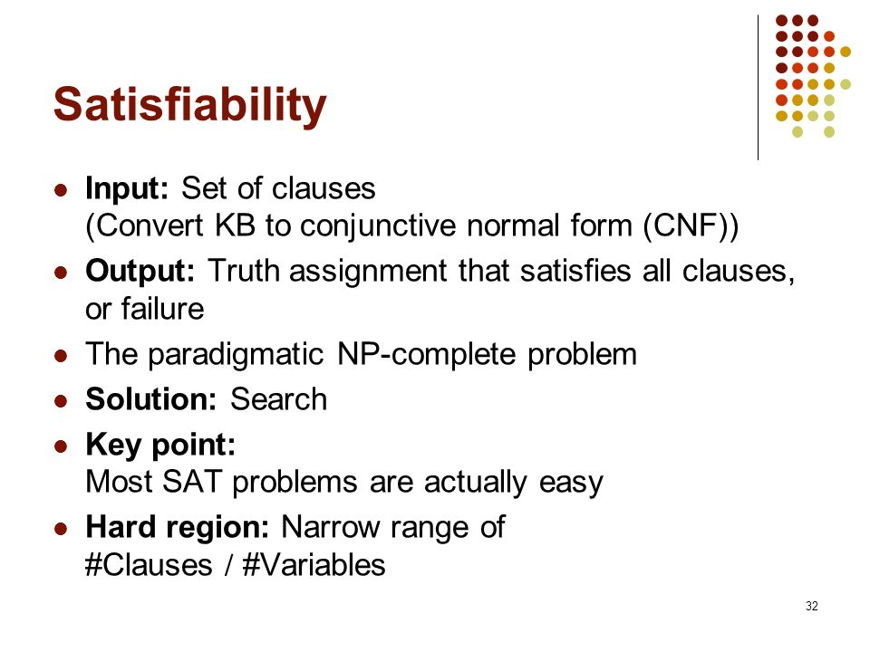 Satisfiability Input: Set of clauses (Convert KB to conjunctive normal form (CNF)) Output: Truth assignment that satisfies all clauses, or failure.
