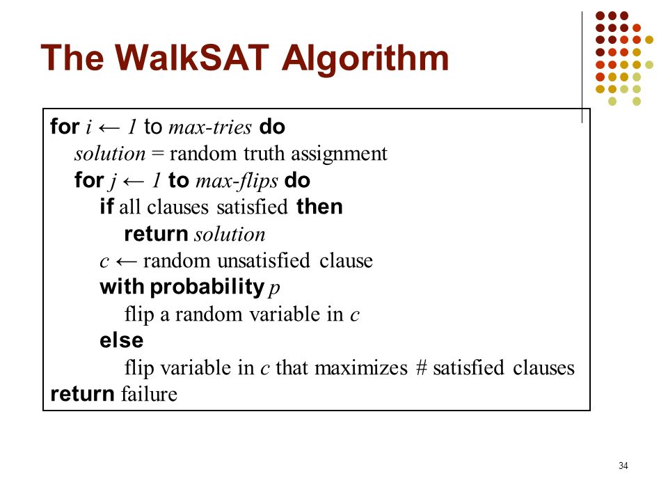 The WalkSAT Algorithm for i ← 1 to max-tries do