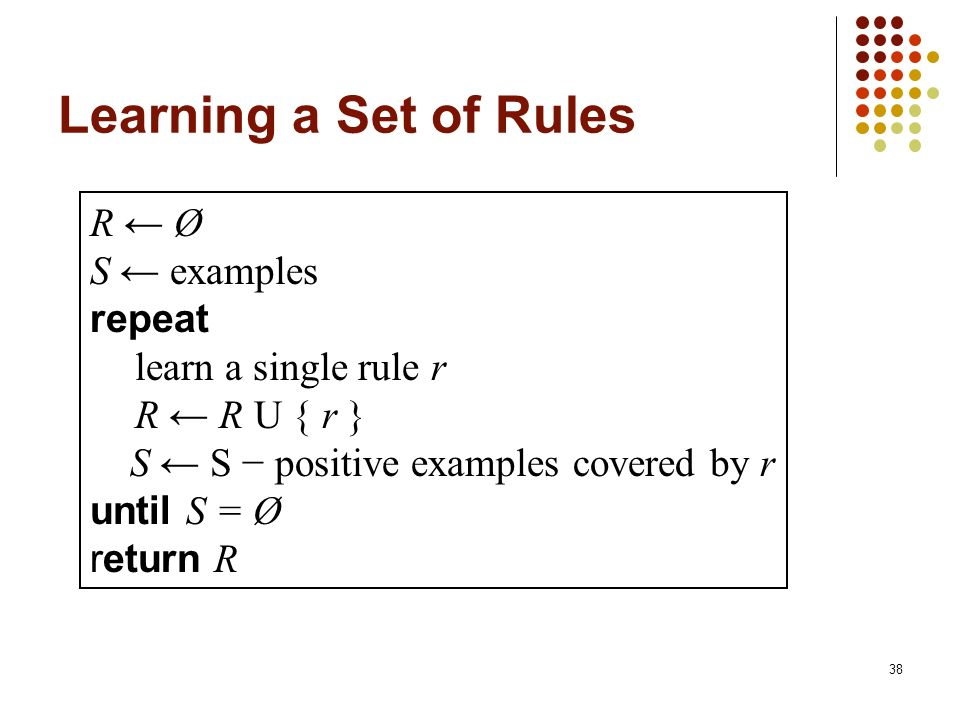 Learning a Set of Rules R ← Ø S ← examples repeat