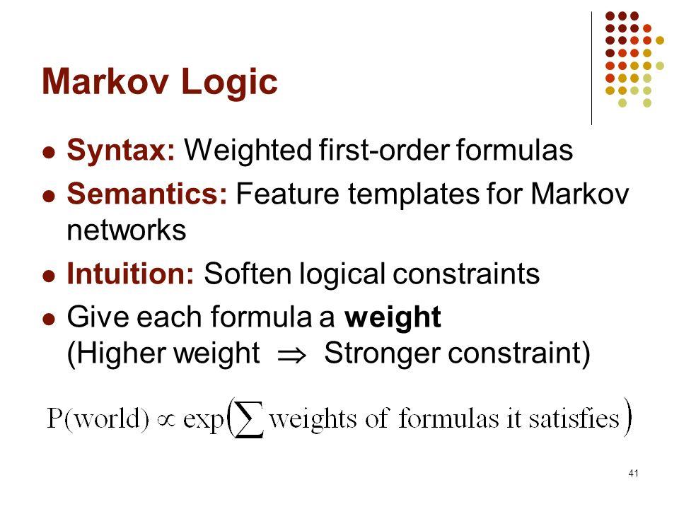 Markov Logic Syntax: Weighted first-order formulas