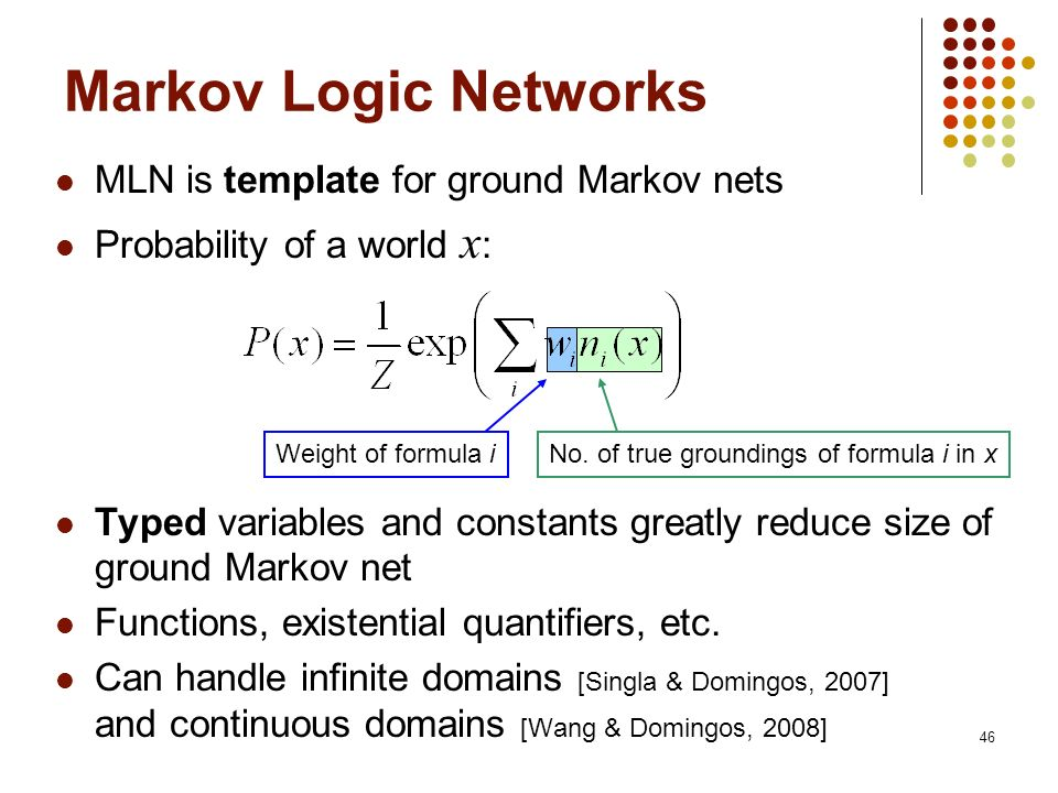 Markov Logic Networks MLN is template for ground Markov nets