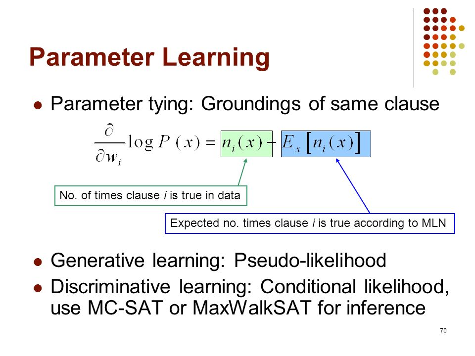 Parameter Learning Parameter tying: Groundings of same clause