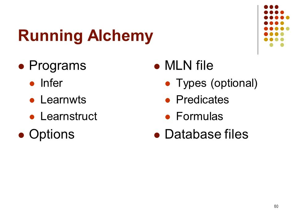 Running Alchemy Programs Options MLN file Database files Infer