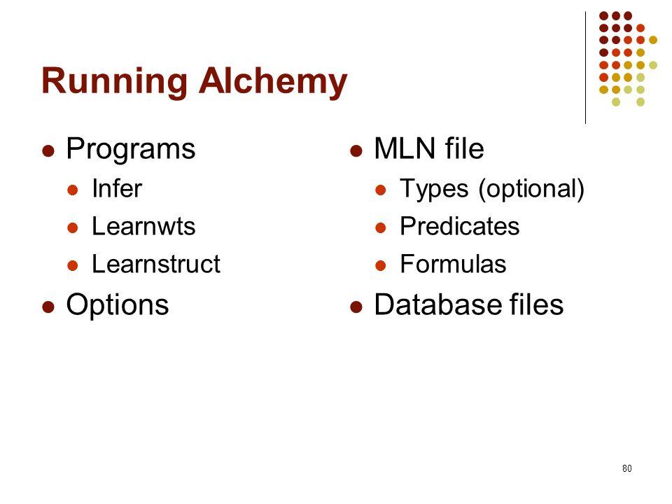 Running Alchemy Programs Options MLN file Database files Infer
