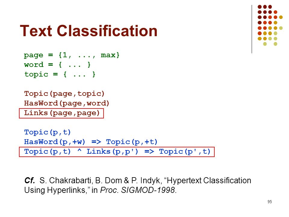 Text Classification page = {1, ..., max} word = { ... }