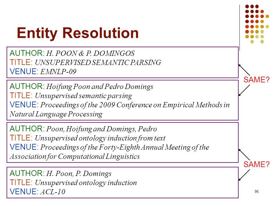 Entity Resolution AUTHOR: H. POON & P. DOMINGOS