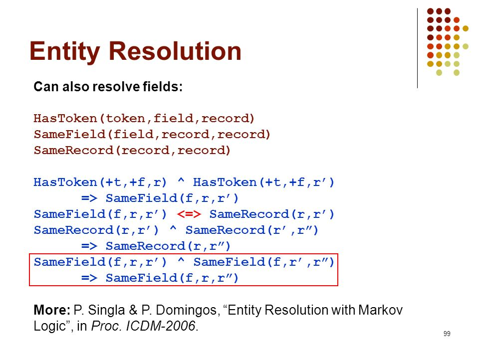 Entity Resolution Can also resolve fields: