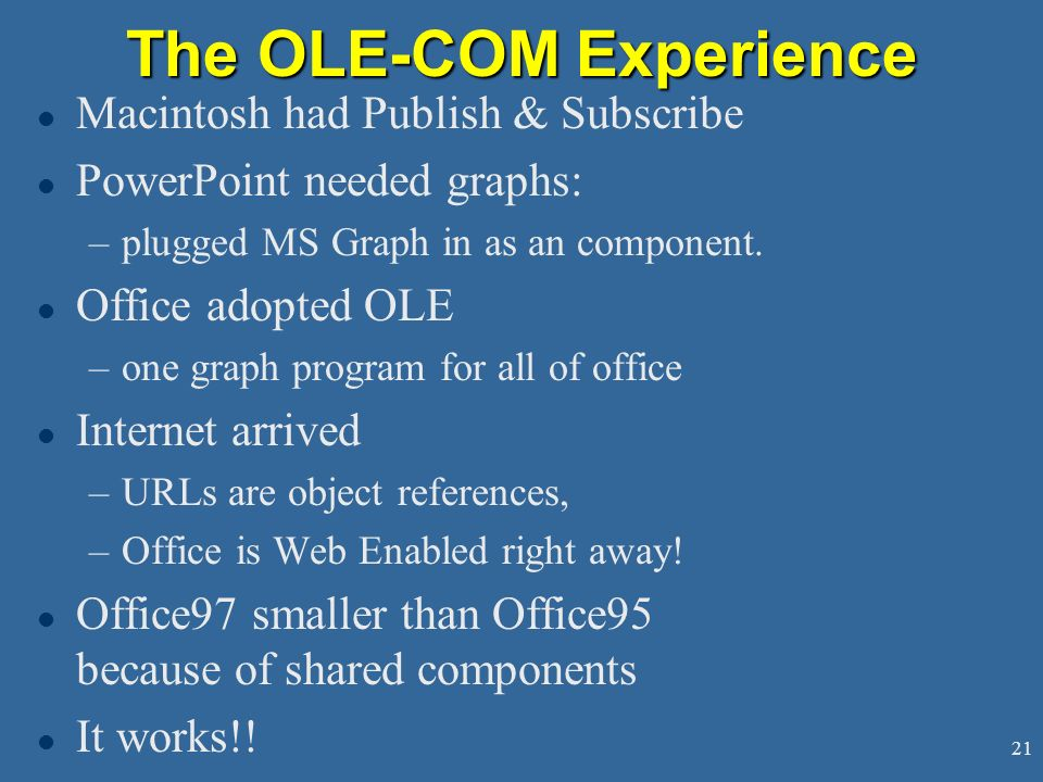 The OLE-COM Experience