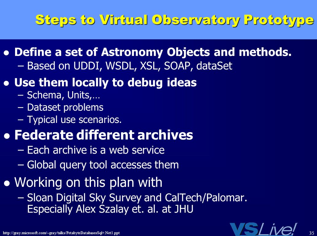 Steps to Virtual Observatory Prototype