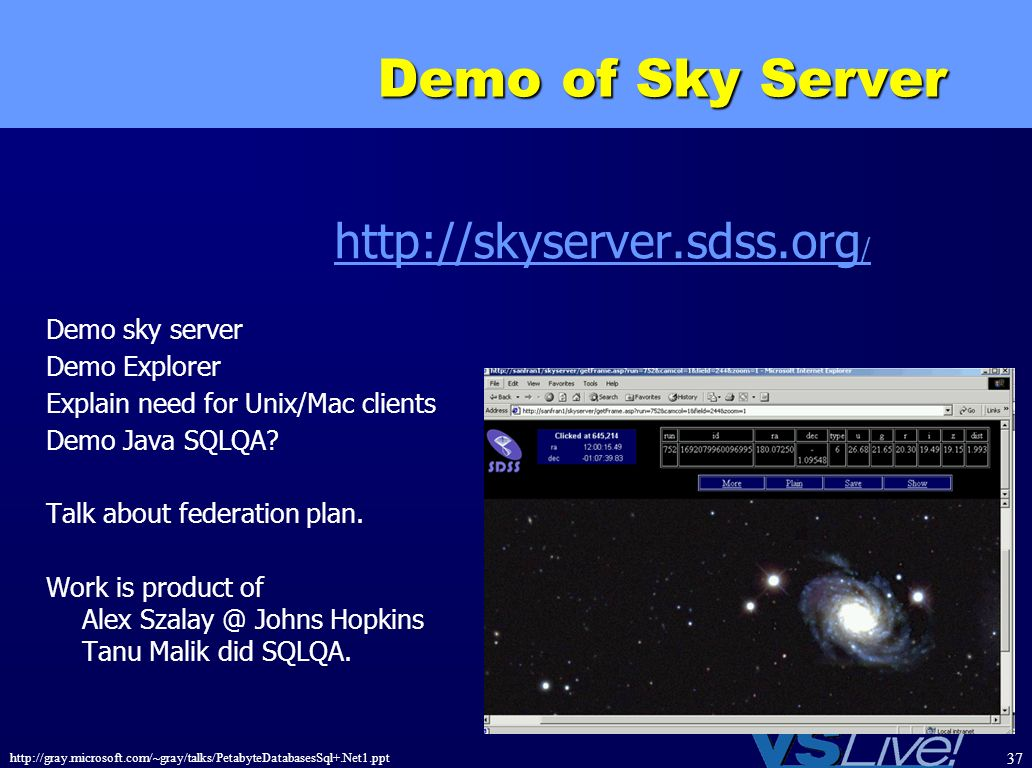 Demo of Sky Server http://skyserver.sdss.org/ Demo sky server