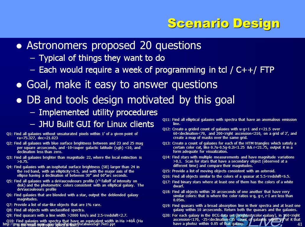 Scenario Design Astronomers proposed 20 questions