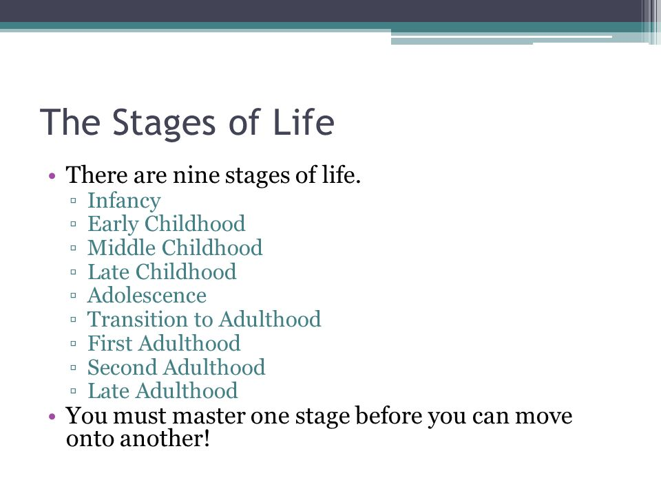 The Stages of Life There are nine stages of life.
