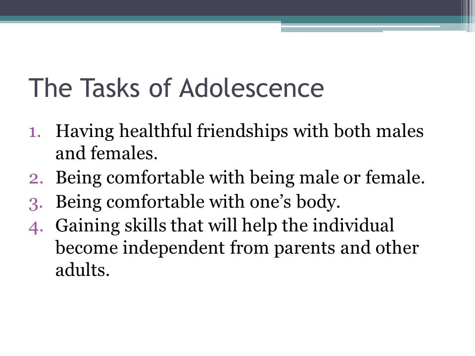 The Tasks of Adolescence