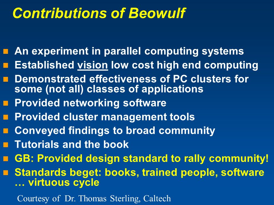 Contributions of Beowulf
