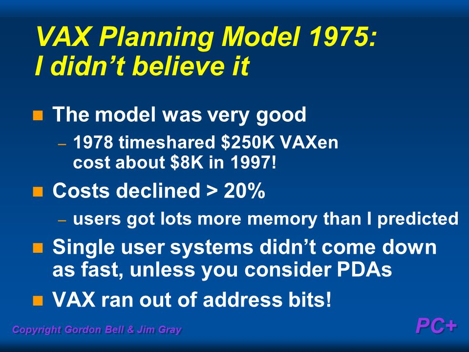 VAX Planning Model 1975: I didn't believe it