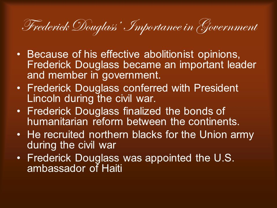 Frederick Douglass' Importance in Government