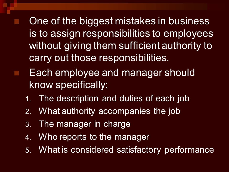Each employee and manager should know specifically: