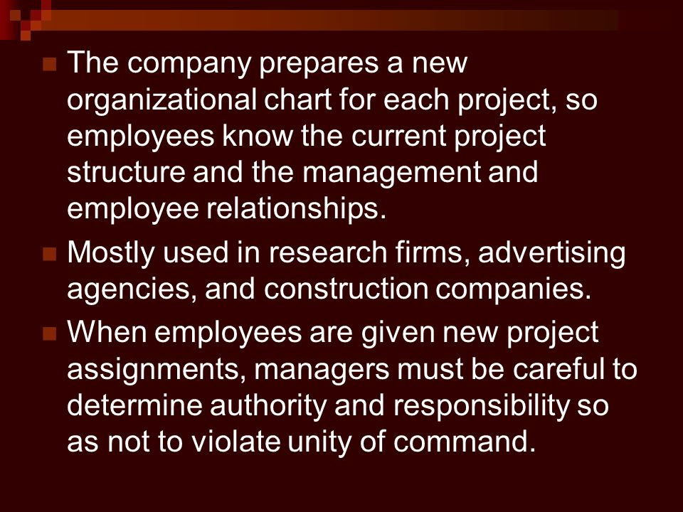 The company prepares a new organizational chart for each project, so employees know the current project structure and the management and employee relationships.