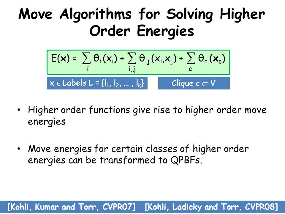 Move Algorithms for Solving Higher Order Energies