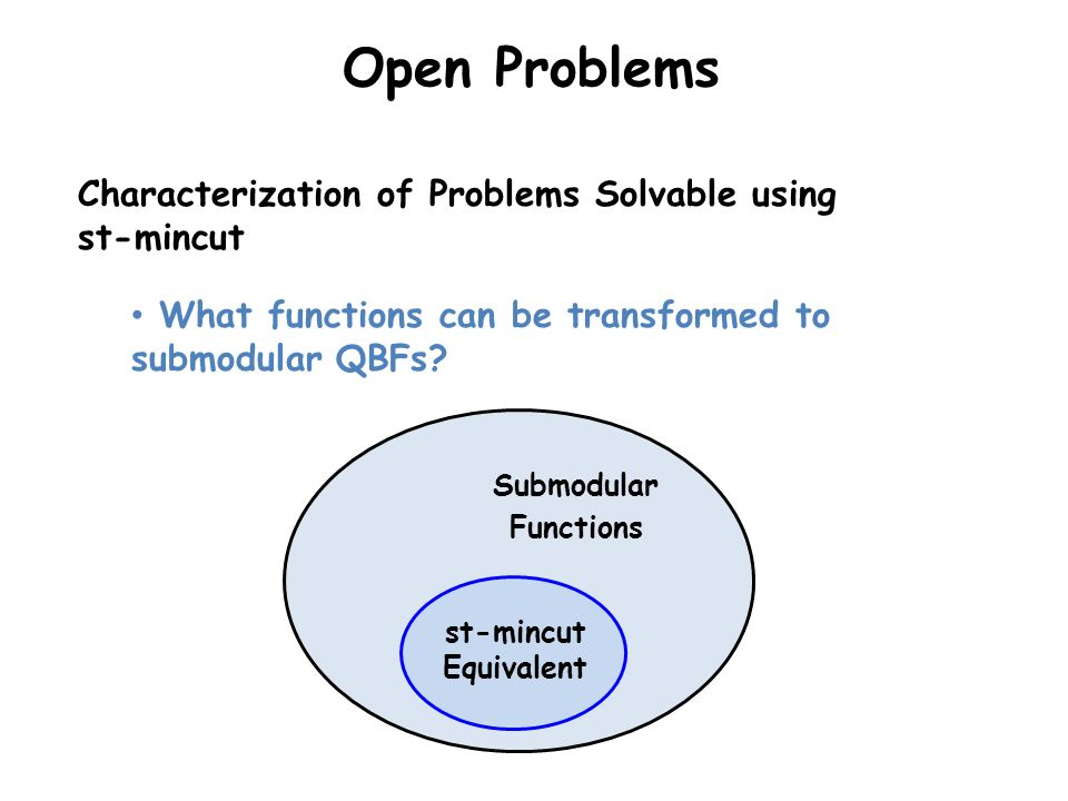 Open Problems Characterization of Problems Solvable using st-mincut