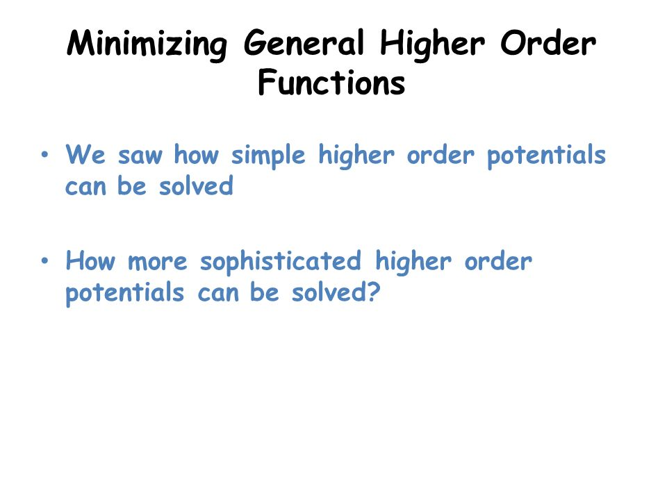 Minimizing General Higher Order Functions