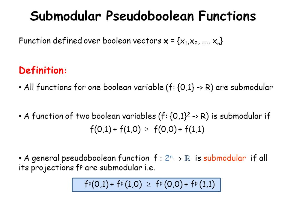 Submodular Pseudoboolean Functions