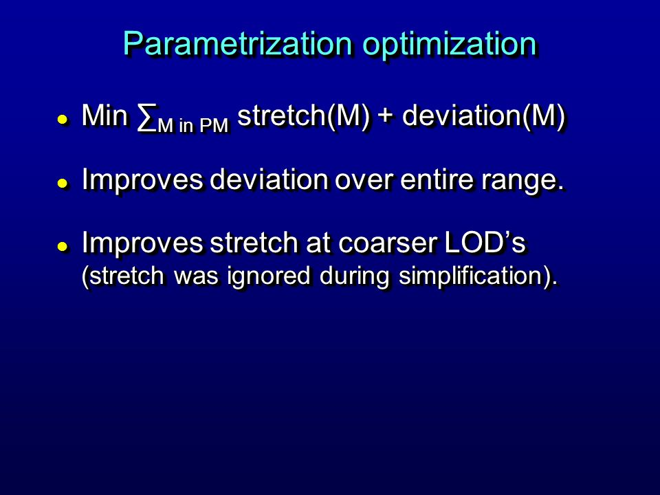 Parametrization optimization