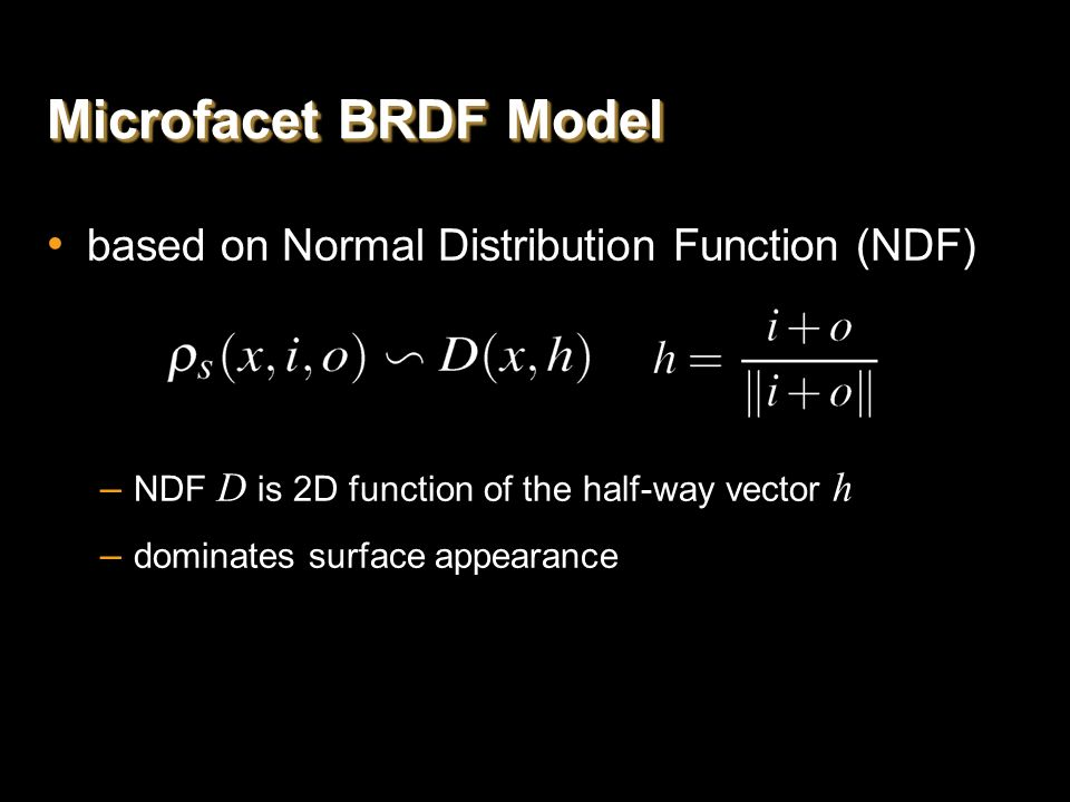 Microfacet BRDF Model based on Normal Distribution Function (NDF)