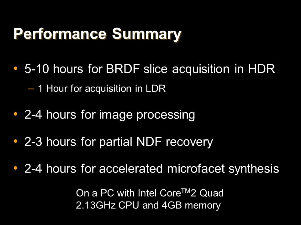Performance Summary 5-10 hours for BRDF slice acquisition in HDR
