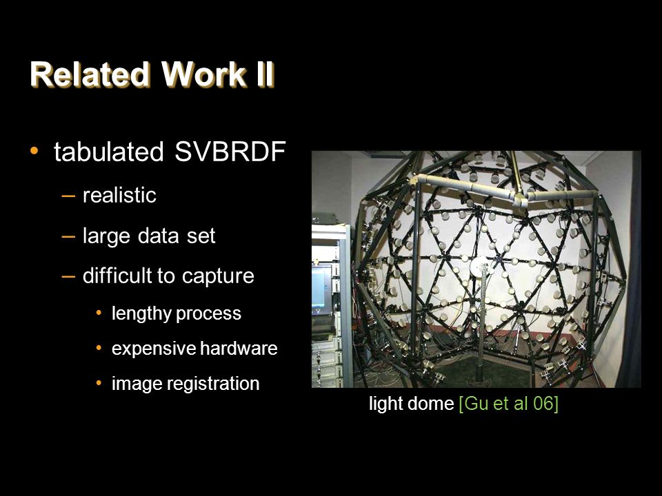 Related Work II tabulated SVBRDF realistic large data set