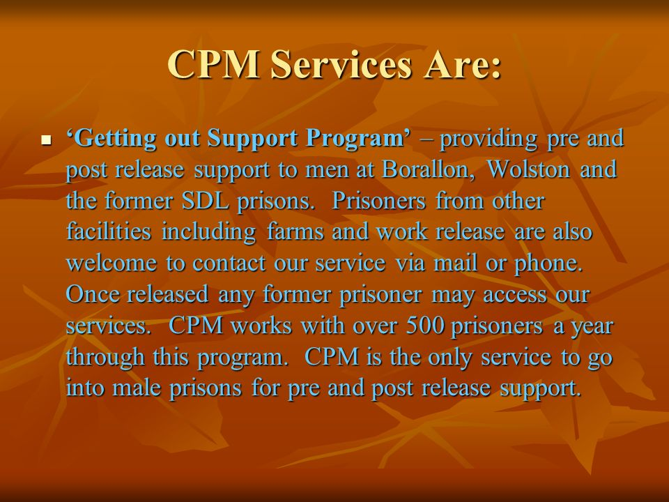 CPM Services Are: