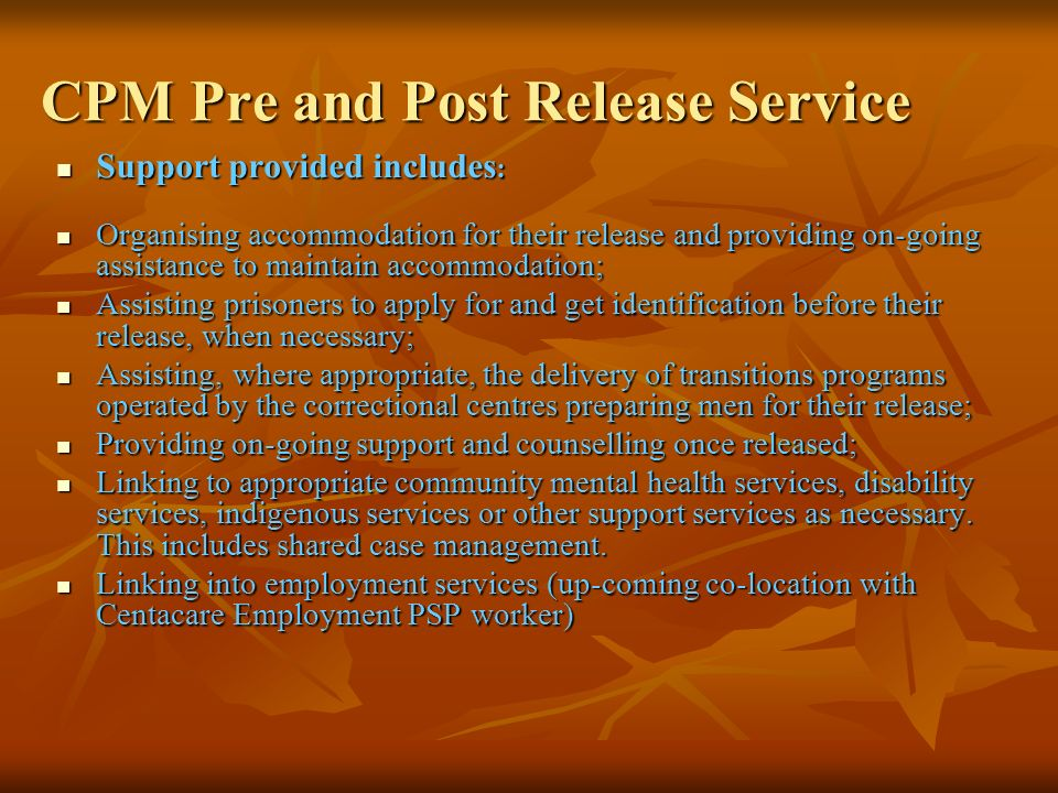 CPM Pre and Post Release Service