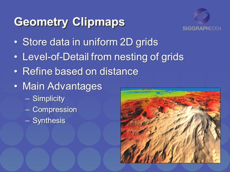 Geometry Clipmaps Store data in uniform 2D grids