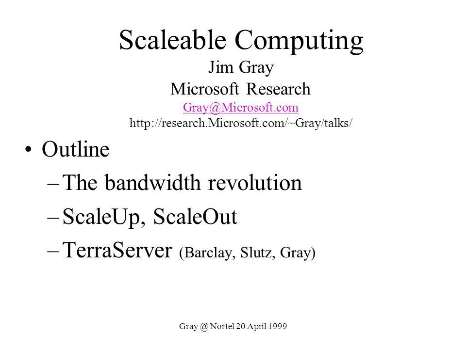 Scaleable Computing Jim Gray Microsoft Research Gray@Microsoft