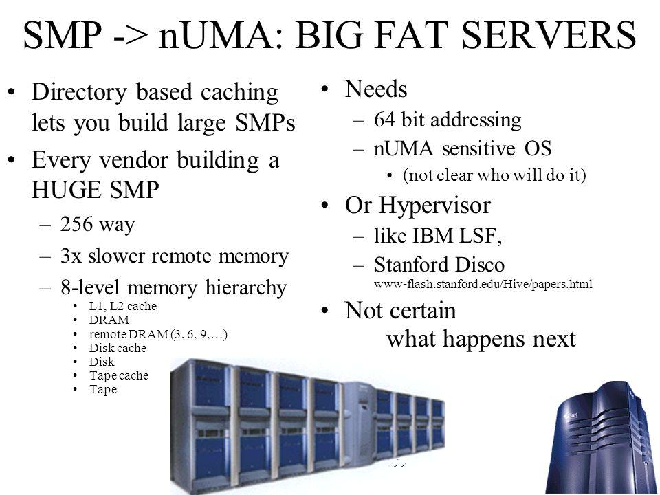 SMP -> nUMA: BIG FAT SERVERS