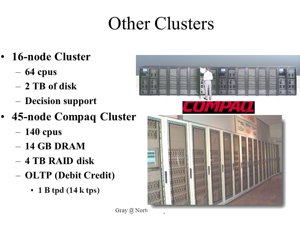Other Clusters 16-node Cluster 45-node Compaq Cluster 64 cpus