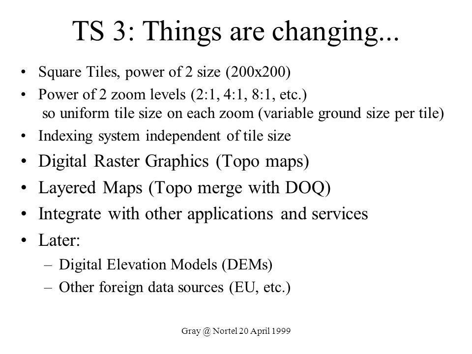 TS 3: Things are changing...