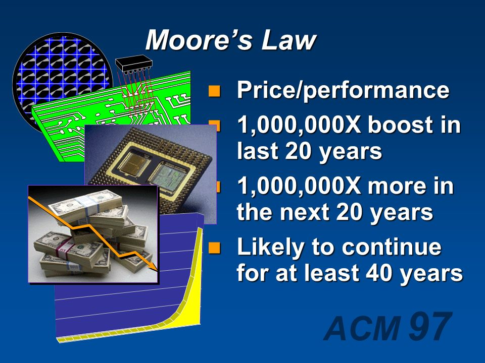 Moore's Law Price/performance 1,000,000X boost in last 20 years