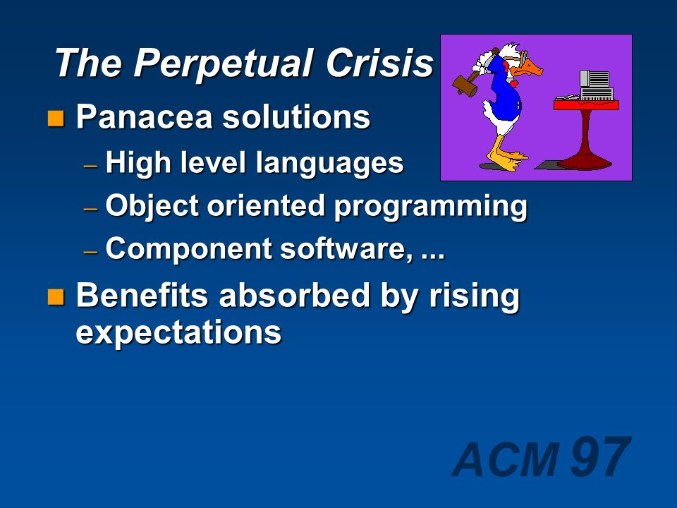 The Perpetual Crisis Panacea solutions