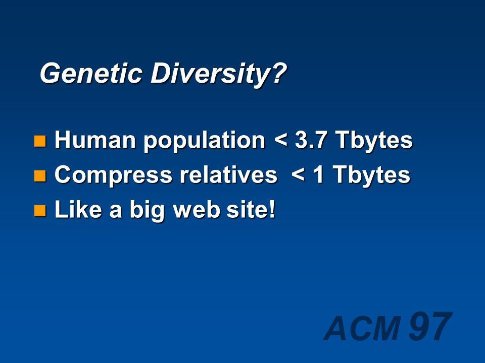 Genetic Diversity Human population < 3.7 Tbytes