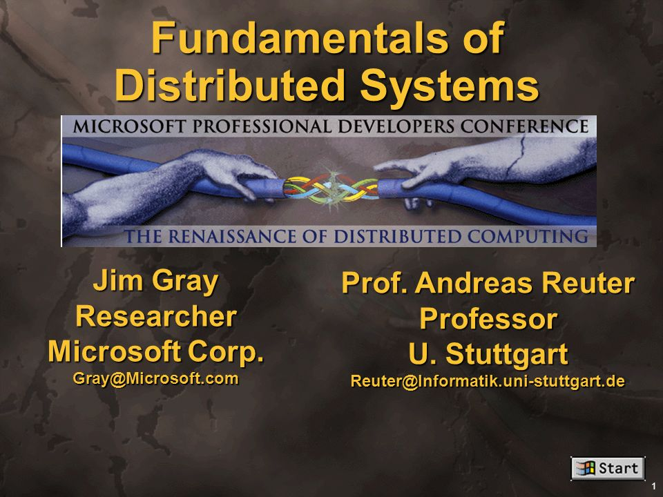 Fundamentals of Distributed Systems .