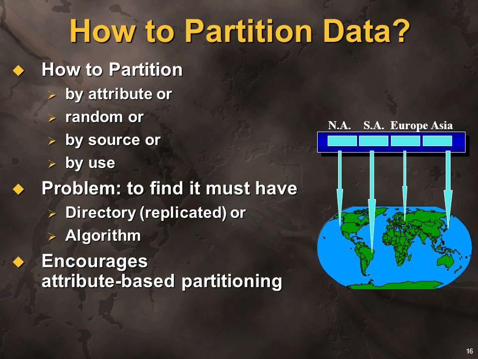 How to Partition Data How to Partition Problem: to find it must have