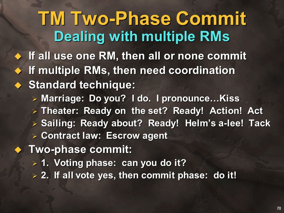 TM Two-Phase Commit Dealing with multiple RMs