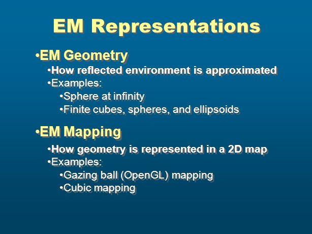 EM Representations EM Geometry EM Mapping
