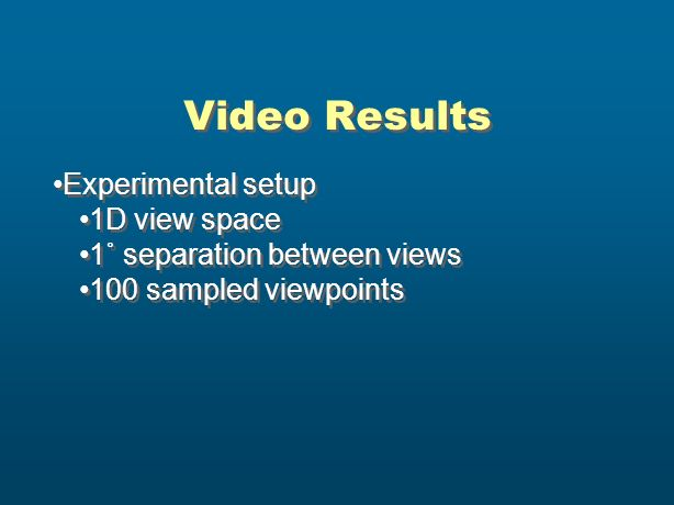 Video Results Experimental setup 1D view space